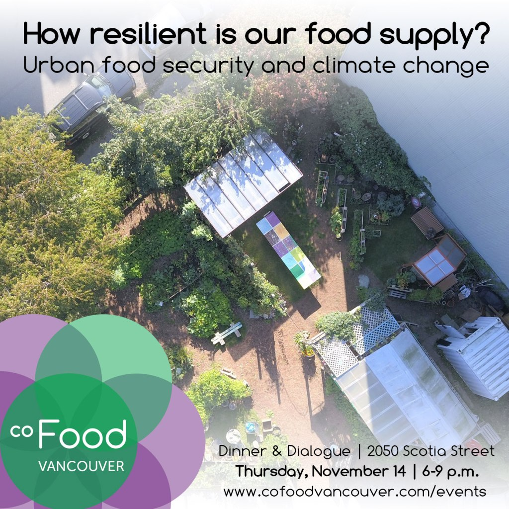 An image of the event poster, featuring an overhead photo of the coFood Collaborative Garden—emphasizing the interrelationships between urban structures and green foodscapes.