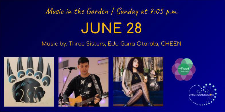 An image of the Live Garden Concerts poster for June 28, 2020. The image features photos of three performers.