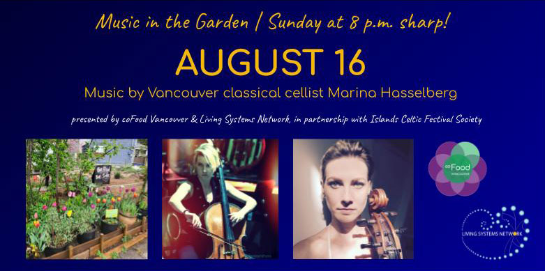 An image of the event poster, with photos of Marina performing, and a photo of the coFood Collaborative Garden