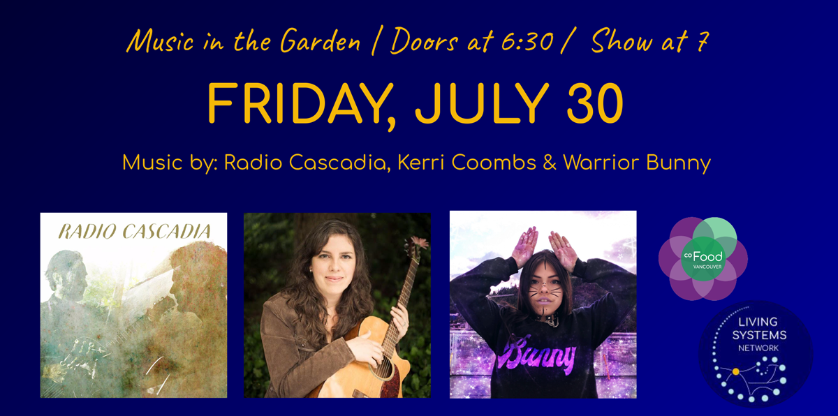 An image of the event poster, with photos of Radio Cascadia, Kerri Coombs and Warrior Bunny