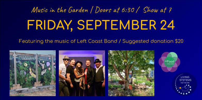 A banner image with event details, and a photo of Left Coast Band